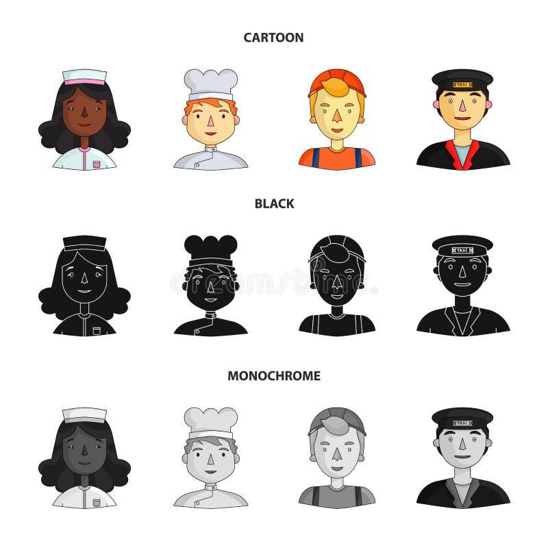 Pielęgniarki opatrunkowa toga, kucharz, budowniczego hełm, taksówkarz nakrętka Ludzie różni zawody ustawiają inkasowe ikony wewną royalty ilustracja