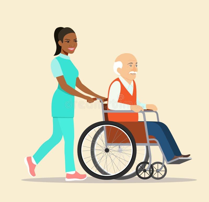 Pielęgnuje spacerować z starsza osoba popielatym z włosami mężczyzną w wózku inwalidzkim royalty ilustracja