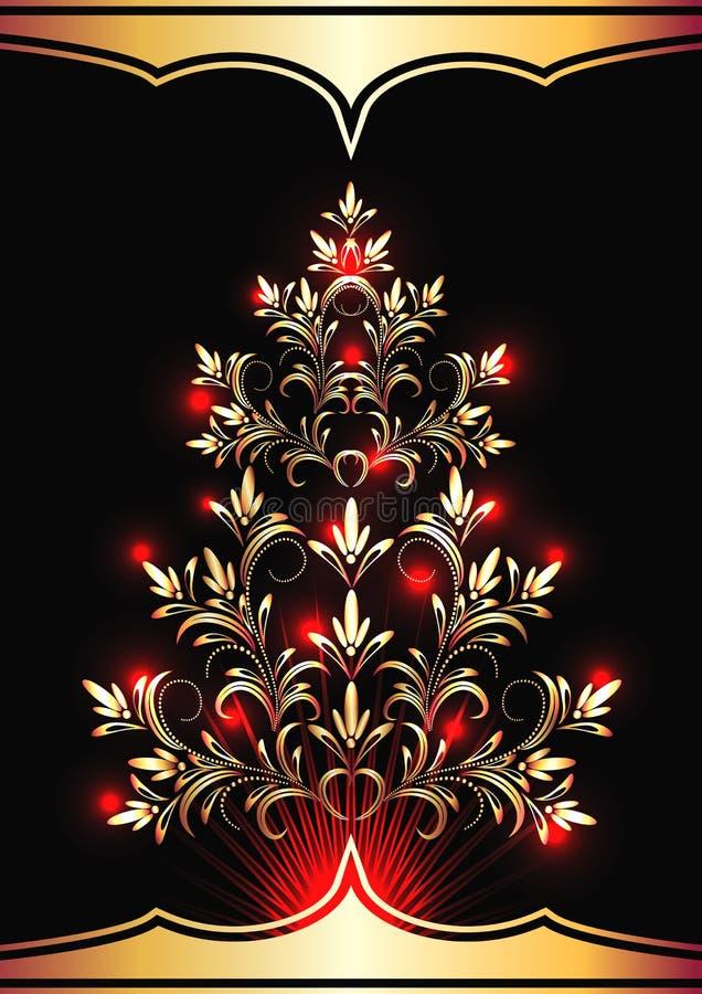 Piel-árbol de la Navidad stock de ilustración