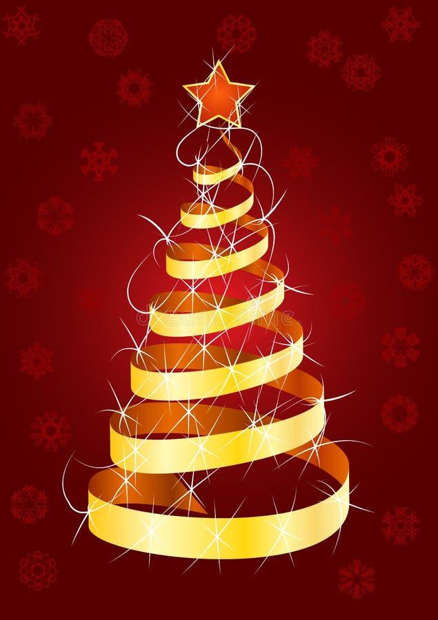 Piel-árbol de la Navidad en fondo rojo ilustración del vector