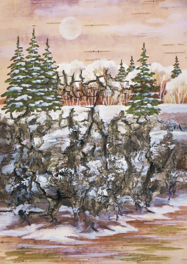 Piel-árboles en una roca ilustración del vector