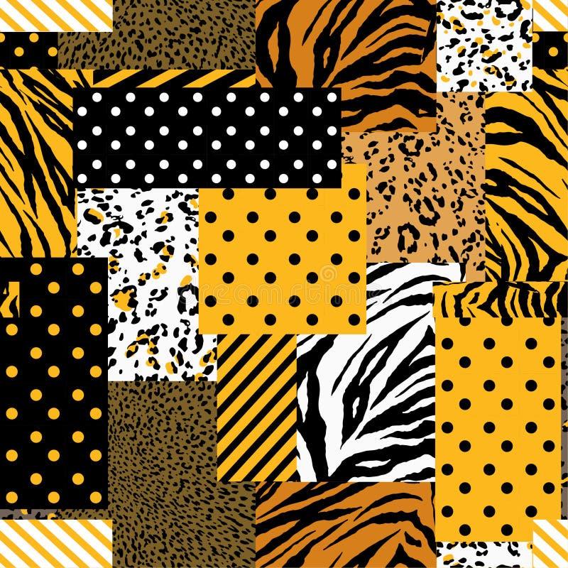Piel animal del safari brillante del verano mezclada con el modelo, los lunares y la raya geométricos en el estilo moderno del co libre illustration