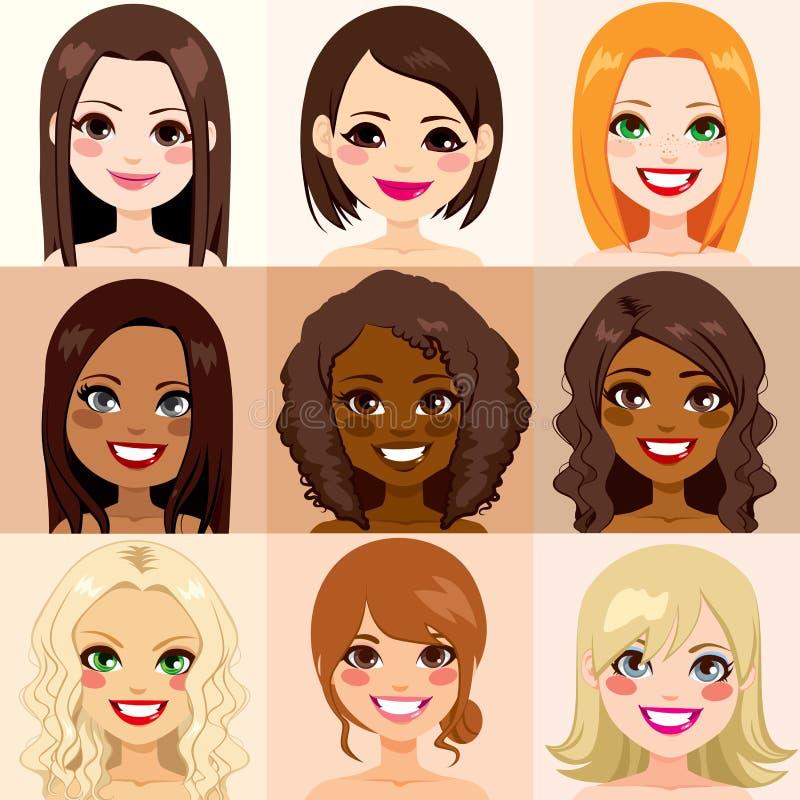Piel de la diversidad de las mujeres libre illustration