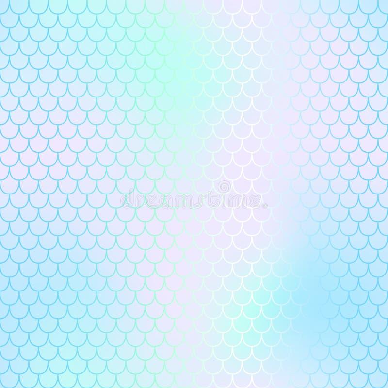 Piel de la sirena o modelo de la escala de pescados Palidezca - la malla ciánica rosada de la pendiente Fondo borroso abstracto stock de ilustración