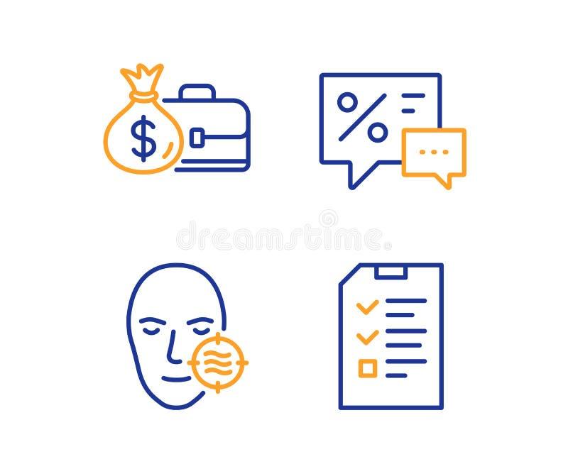 Piel de los descuentos, del problema y sistema de los iconos del sueldo Muestra de la entrevista La mejor oferta, cuidado facial, stock de ilustración