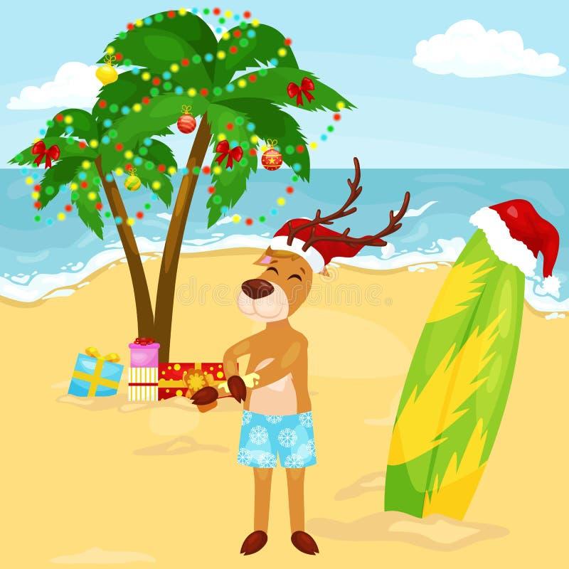 Piel de protección del reno de Navidad de la historieta del sol en la playa soleada ilustración del vector