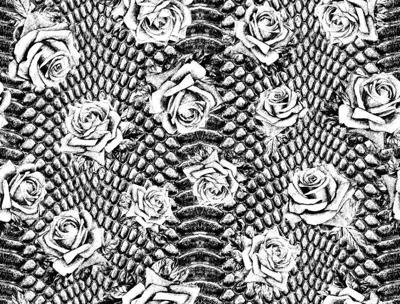 Piel de serpiente blanca y negra stock de ilustración