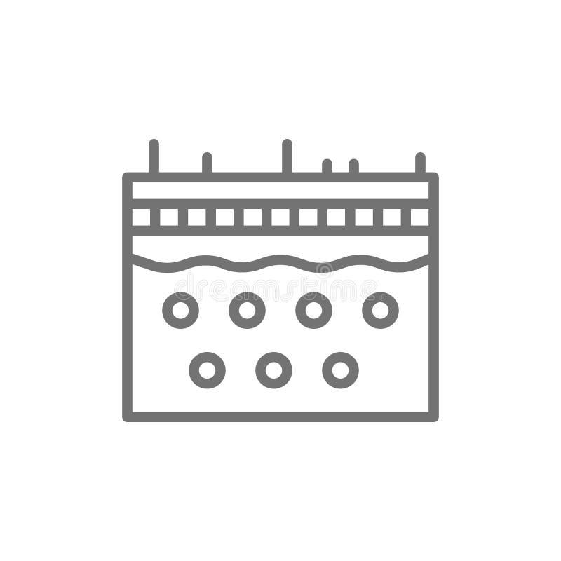 Piel, epidermis, línea icono de la dermatología stock de ilustración
