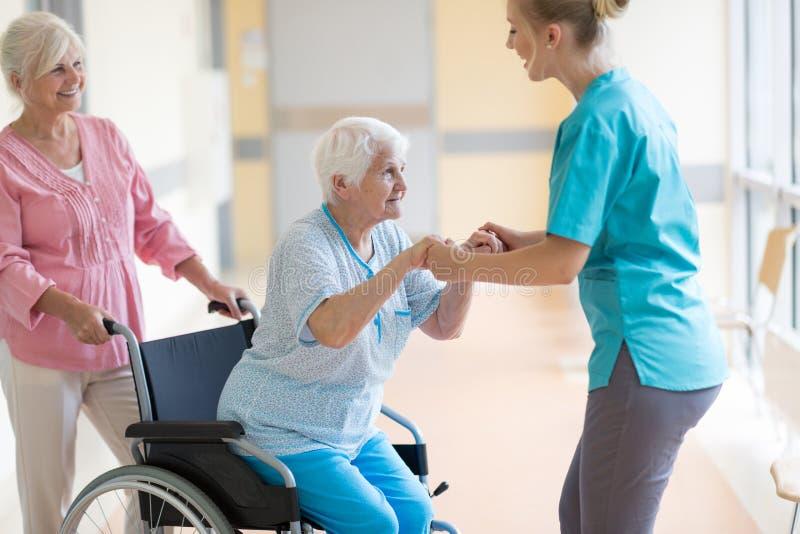 Piel?gniarka pomaga starszej kobiety w w?zku inwalidzkim fotografia royalty free