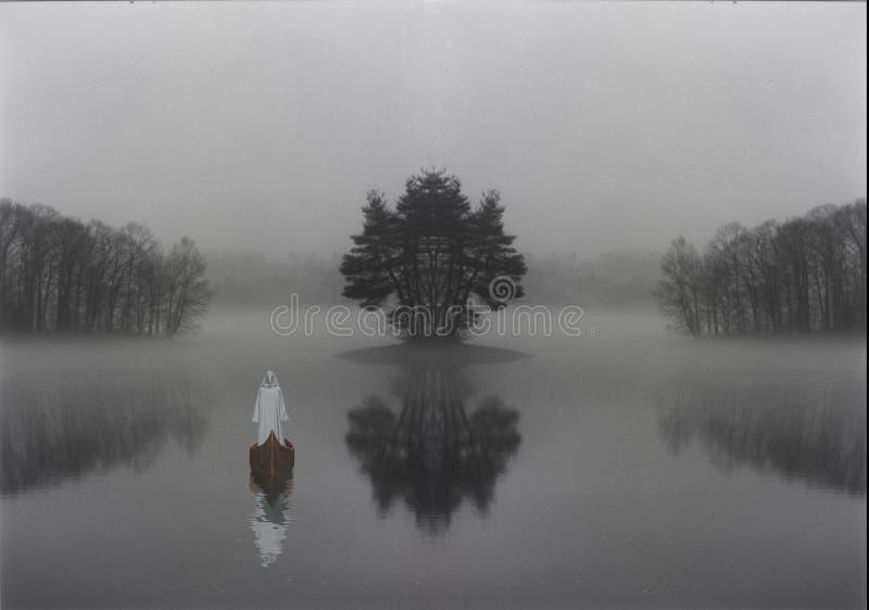 Pielgrzym na lasowym jeziorze zdjęcia stock