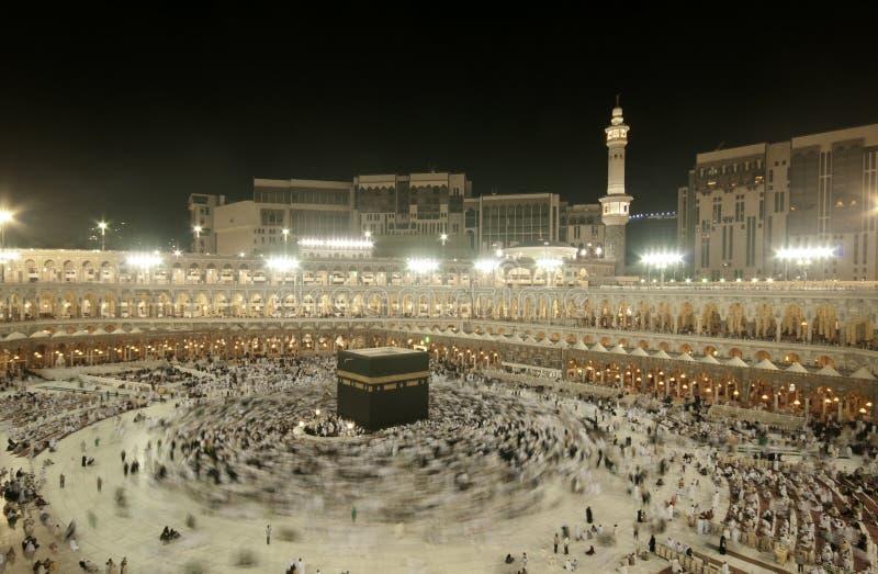 Pielgrzymi circumambulate Kaaba obrazy royalty free
