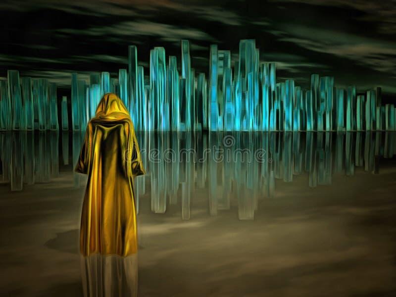 Pielgrzymi i Krystaliczny miasto ilustracja wektor