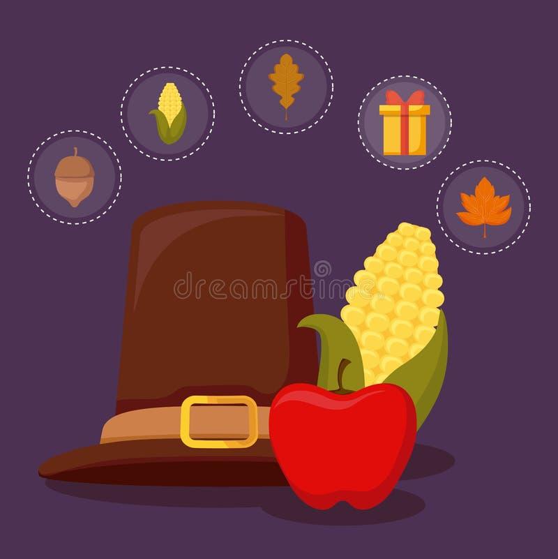 Pielgrzymi kapelusz dziękczynienie dzień z ustalonymi ikonami royalty ilustracja