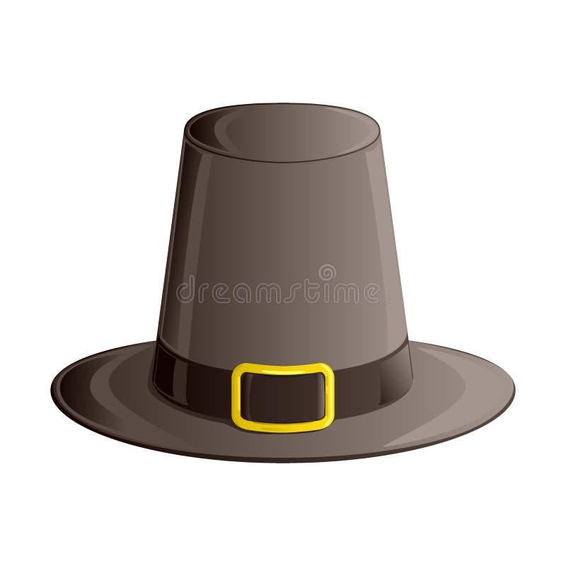 Pielgrzymi kapelusz z tasiemkową i złotą klamrą Jesieni i dziękczynienie dnia symbol Isometric, 3d ikona odizolowywająca na biały ilustracja wektor