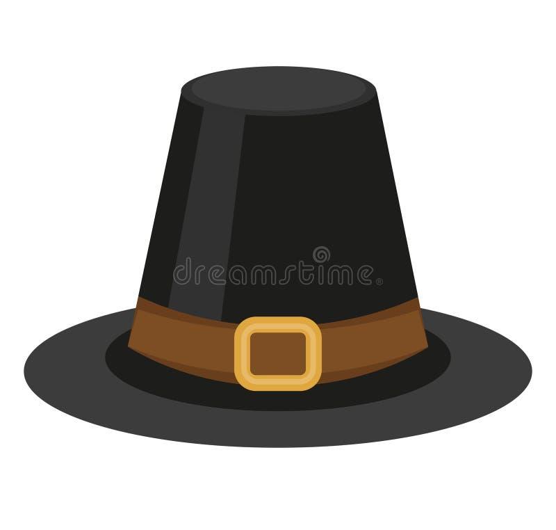 Pielgrzymia kapeluszowa ikona, mieszkanie styl Dziękczynienie pióropusz pojedynczy białe tło również zwrócić corel ilustracji wek royalty ilustracja