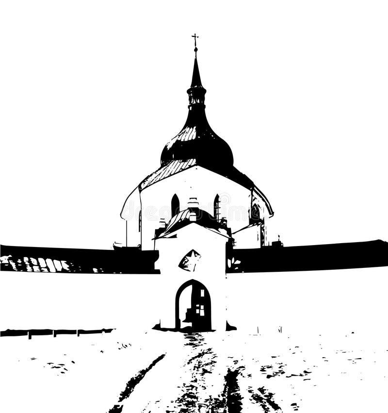 Pielgrzymka kościół na zelena hora, zielony wzgórze obraz stock