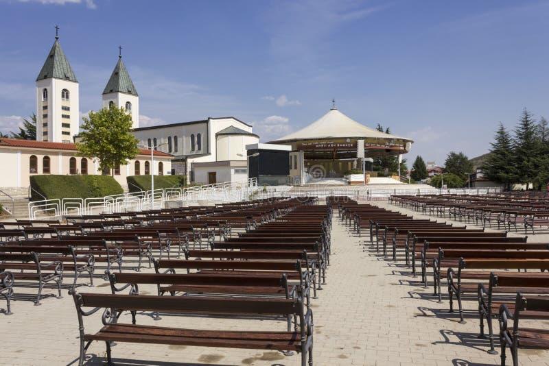 Pielgrzymki miejsce świętego James kościół w Medjogorje zdjęcie stock