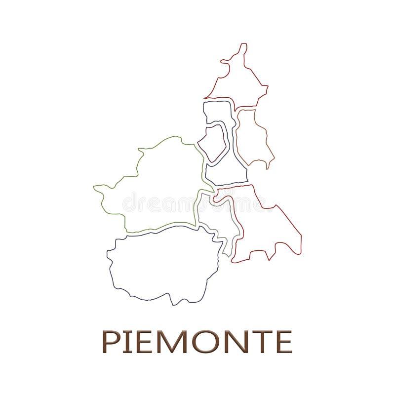 Piemonte region na białym tle royalty ilustracja