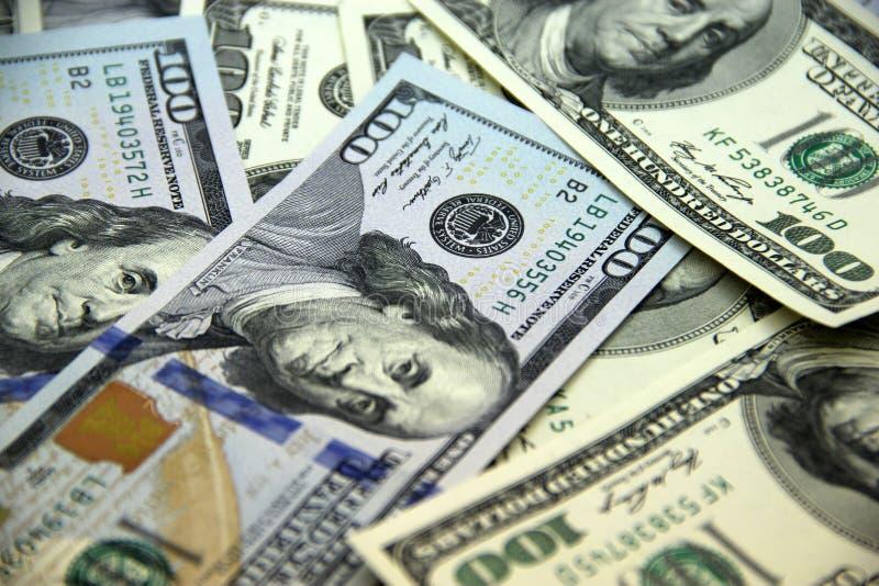 Pieniądze amerykanina sto dolarowi rachunki fotografia stock