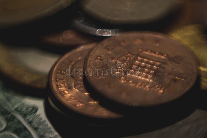 Pieniądze gotówki monety zdjęcia royalty free