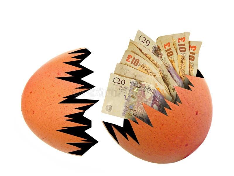 Pieniądze gotówkowe notatki znosić kluli się gniazdowego jajka oszczędzania deponuje pieniądze inwestycję royalty ilustracja