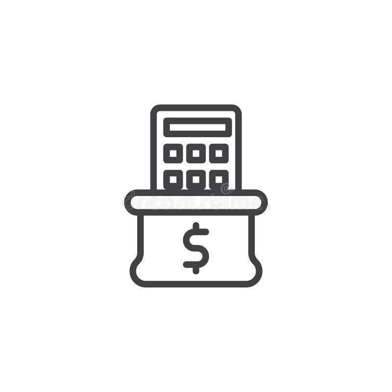 Pieniądze kalkulatora i torby kreskowa ikona royalty ilustracja