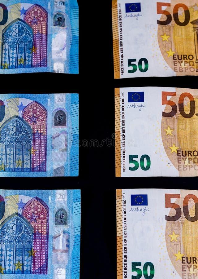Pieniądze wartości Euro banknoty, unia europejska system płatności zdjęcie stock