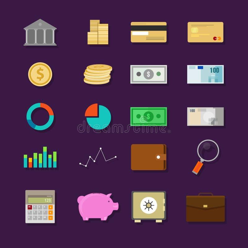 Pieniądze bankowości finansowej ikony ustalony mieszkanie royalty ilustracja