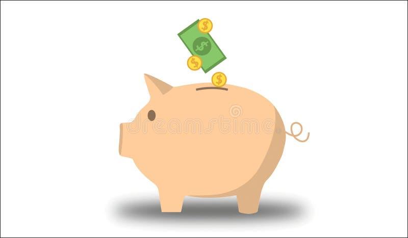 pieniądze banku świnka ilustracja wektor