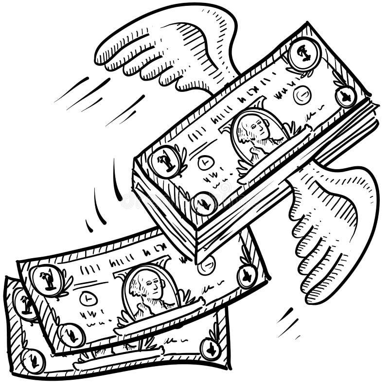 Pieniądze bierze daleko nakreślenie ilustracji