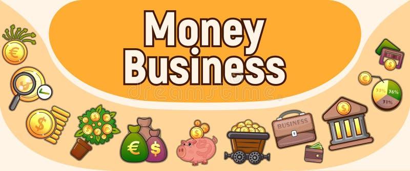 Pieniądze biznesu pojęcia sztandar, kreskówka styl royalty ilustracja