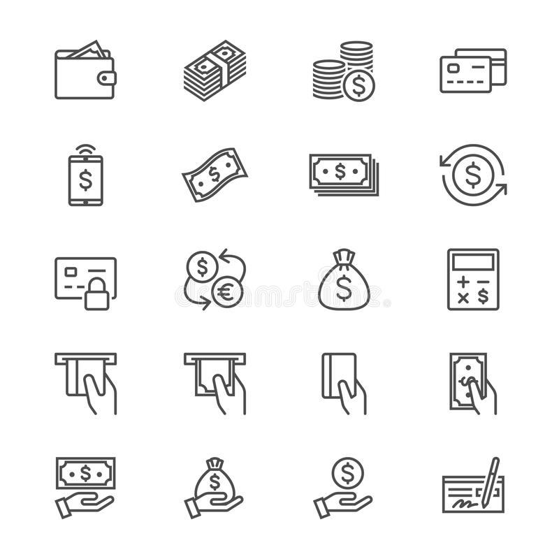 Pieniądze cienkie ikony ilustracja wektor