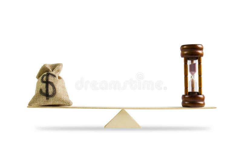 Pieniądze, czas równowaga, zmiana pieniądze w gotówkę i odwrotności concep, obrazy stock
