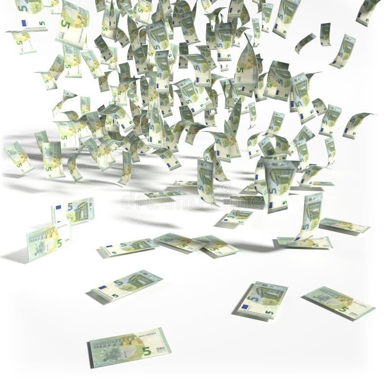 Pieniądze deszcz 5 Euro rachunków obrazy stock
