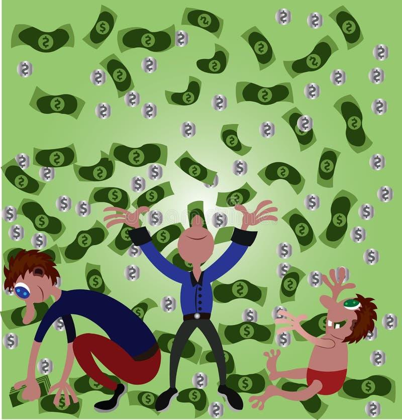 Pieniądze deszcz od above ilustracji