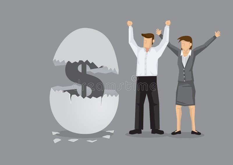 Pieniądze dla Gniazdowego jajka kreskówki wektoru Kreatywnie ilustraci royalty ilustracja
