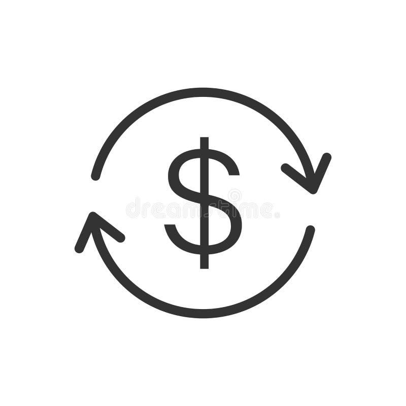 Pieniądze dolar z strzałkowatą ikoną w mieszkanie stylu Wekslowego tempa pieniądze ilustracja wektor