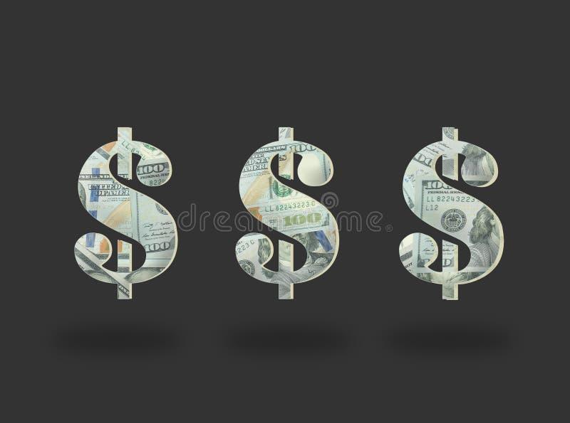 Pieniądze Dolarowa ikona na czerni fotografia royalty free