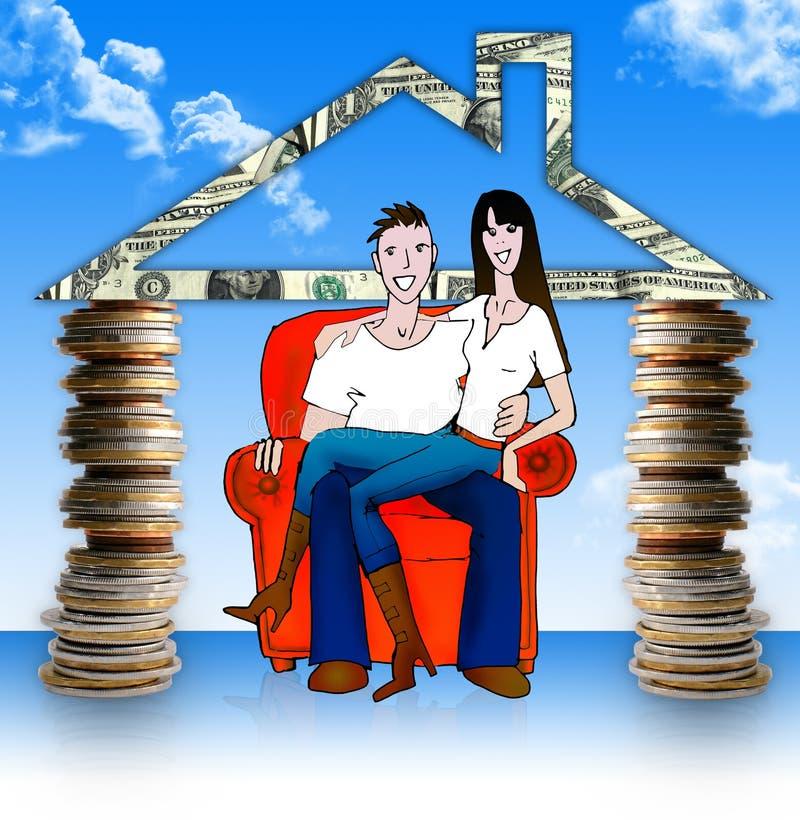 Pieniądze domu. .with potomstw para w ono! ilustracja wektor