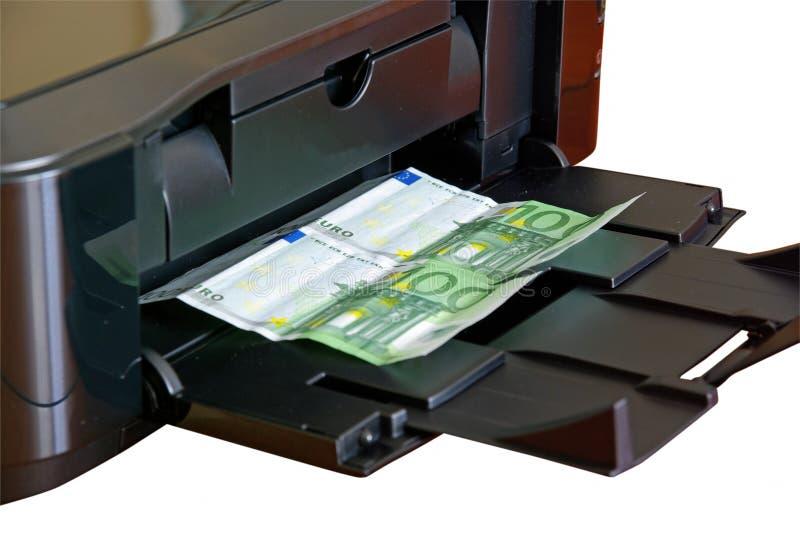 pieniądze drukarki druk ilustracji