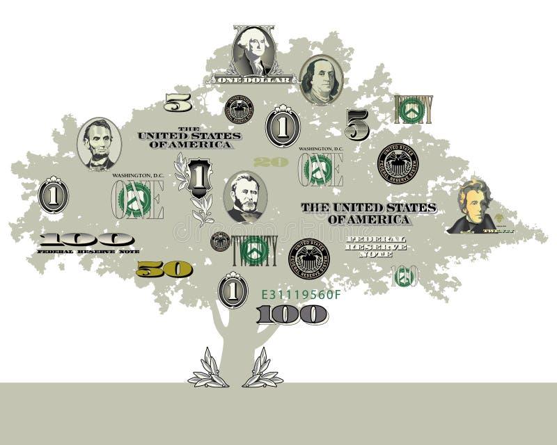 Pieniądze drzewa tło royalty ilustracja
