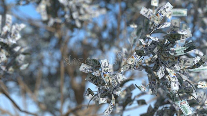Pieniądze drzewna 3d ilustracja obrazy royalty free