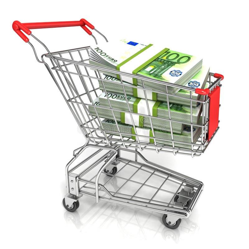 Pieniądze, euro gotówkowy banknot w tramwaju wózek na zakupy, ilustracji