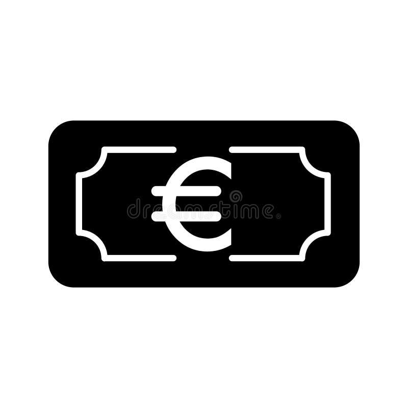 Pieniądze euro wektorowa ikona Czarny i biały gotówkowa ilustracja Stała liniowa bankowości ikona ilustracji