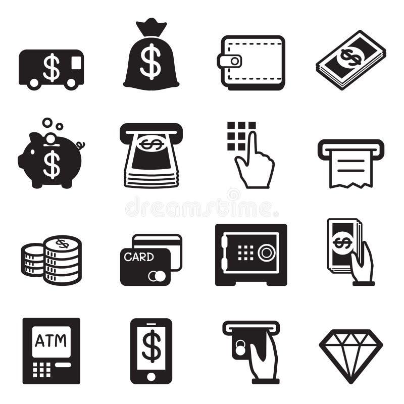 Pieniądze, finanse, deponuje pieniądze kredytowej karty ikony wektorowe ilustracji