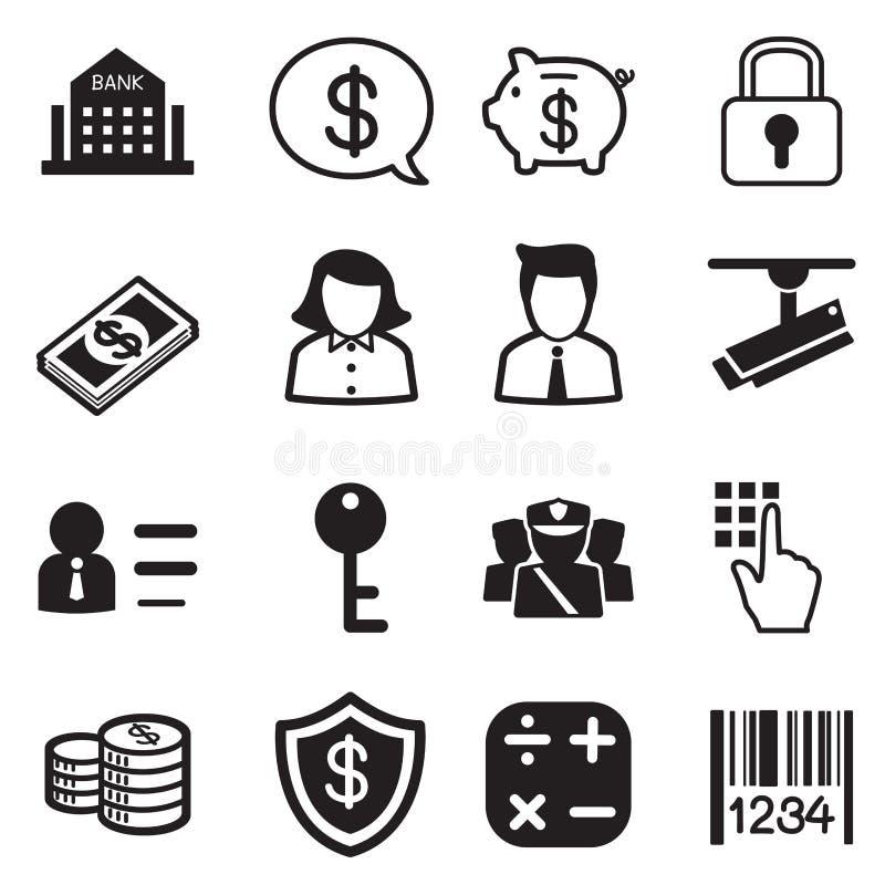 Pieniądze, finanse, deponuje pieniądze sylwetek ikon wektoru set royalty ilustracja