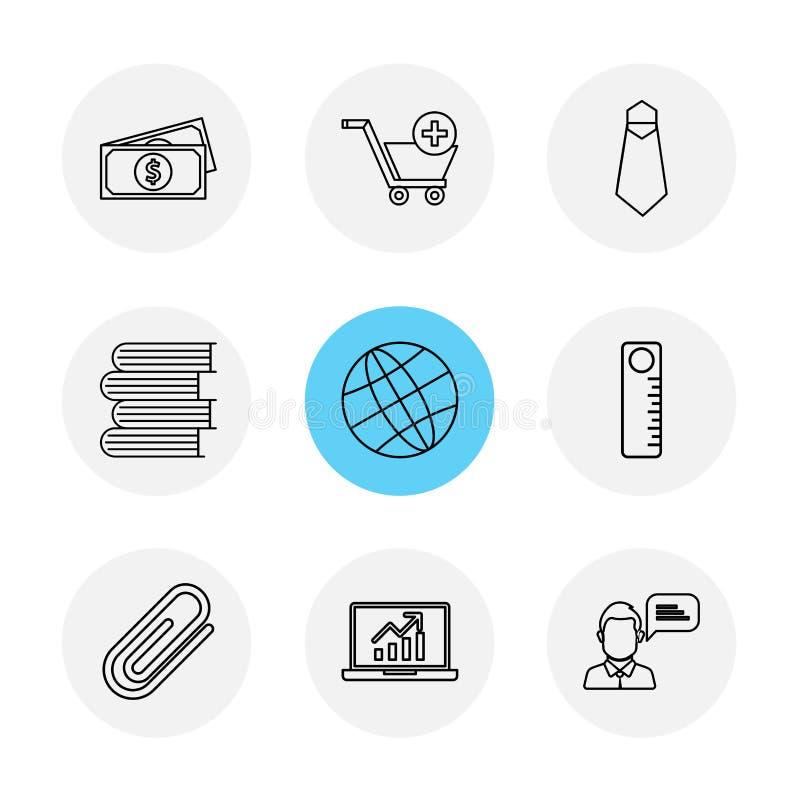 pieniądze, fura, krawat, książki, kula ziemska, skala, szpilka, laptop, eps ilustracji