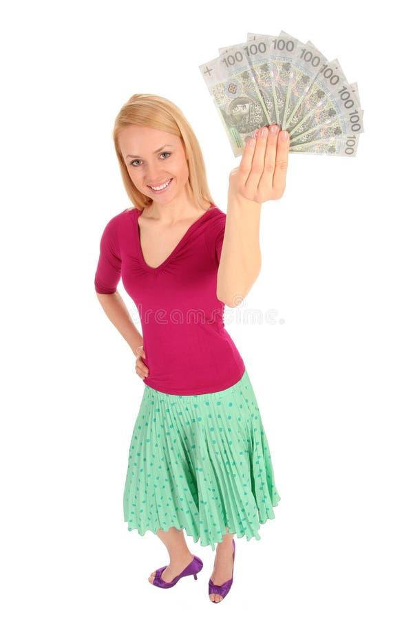 pieniądze gospodarstwa kobieta obraz stock