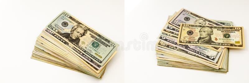 Pieniądze gotówka wypiętrza sterta banknotów kolaż obrazy royalty free