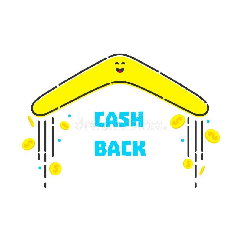Pieniądze gotówka z powrotem ilustracja wektor